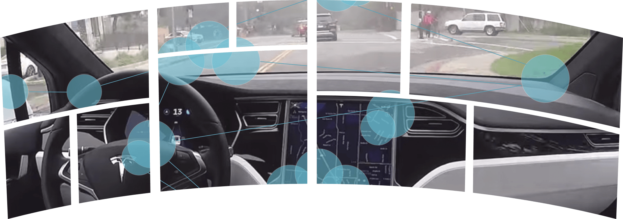 Multi-display module gaze map when driving